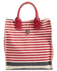Barbour Coast Striped Canvas Tote Red