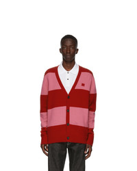 Acne Studios Red And Pink Block Stripe Cardigan