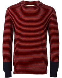 Red Horizontal Striped Crew-neck Sweater