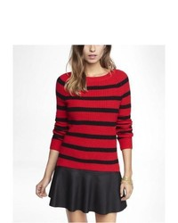 Express Striped Side Slit Shaker Knit Sweater Red X Small