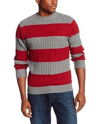 Rugby stripe cable crew neck sweater medium 130381