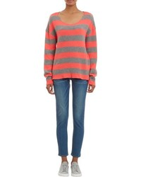 The Elder Statesman Stripe Cashmere Sweater Grey