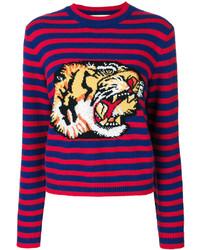 Gucci Striped Tiger Motif Sweater