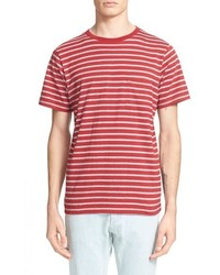 Red Horizontal Striped Crew-neck T-shirt