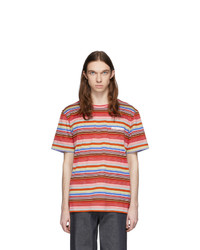 Missoni Red And Multicolor Striped Logo T Shirt