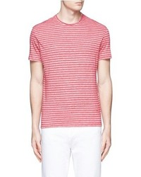 Isaia Stripe Linen Cotton T Shirt