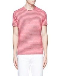 Isaia Stripe Linen Cotton T Shirt