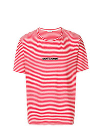 Saint Laurent Striped Logo T Shirt