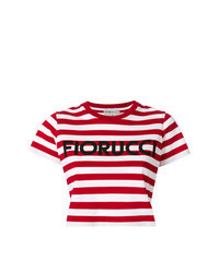 Red Horizontal Striped Cropped Top