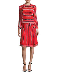 Kate Spade New York Long Sleeve Striped Fit And Flare Dress