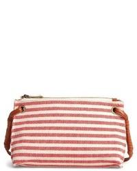 Sole Society Jax Stripe Fabric Crossbody Bag Black