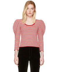 Red striped puff sleeve t shirt medium 4278818