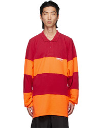 Balenciaga Orange Red Patchwork Long Sleeve Polo