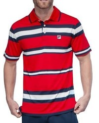 Fila Heritage Stripe Polo Shirt Whitepeacoatchinese Red T Shirts
