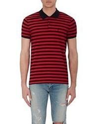 Saint Laurent Striped Piqu Polo Shirt
