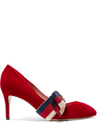 Gucci Striped Bow Embellished Velvet Pumps Red