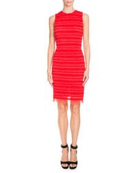 Givenchy Sleeveless Stripe Ruffled Sheath Dress Red