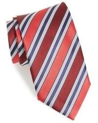 Red Horizontal Striped Silk Tie
