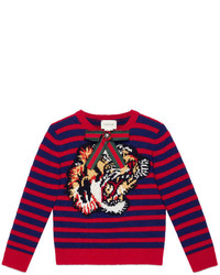 Gucci Childrens Striped Sweater With Tiger