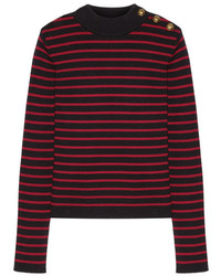 RED Valentino Redvalentino Tulle Paneled Striped Cotton Sweater