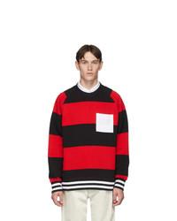 Burberry Red Rugby Stripe Bustler Sweatshirt