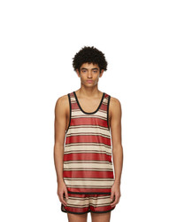 Marni Red And Beige Striped Tank Top