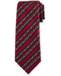 Ermenegildo Zegna Pixelated Stripe Twill Tie Red