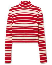 Prada Striped Ribbed Knit Turtleneck Sweater