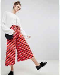 Bershka Wide Leg Diagonal Stripe Trouser In Red
