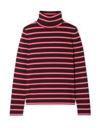 Moncler Genius Grenoble Striped Stretch Wool Blend Turtleneck Top