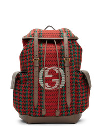 Gucci Red And Green Houndstooth Gg Backpack