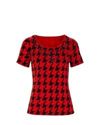 Gloockler gloocker houndstooth print t shirt in redblack size 22 medium 332796