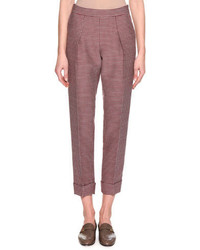 Giorgio Armani Houndstooth Cropped Pant Red