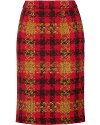Miu Miu Checked Wool Tweed Skirt Red