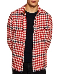 Red Houndstooth Shirt Jacket
