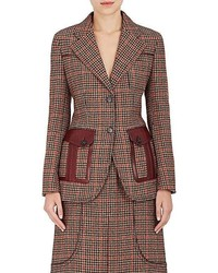Prada Houndstooth Wool Blend Two Button Blazer