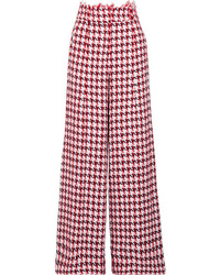 Oscar de la Renta Houndstooth Cotton Blend Tweed Wide Leg Pants