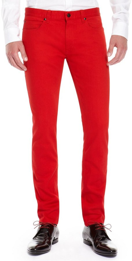 Hugo Boss Hugo 734 Skinny Fit 11 Oz Stretch Cotton Jeans Dark Red ...
