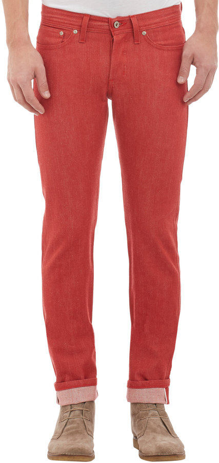 Naked Famous Denim Weird Guy Red Stretch Selvedge | Where to buy ...