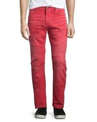 True Religion Rocco Active Moto Denim Jeans Cho Red