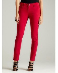 Velvet Heart Skinny Jean In Red Rose