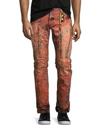 Robin's Jeans Vertical Zip Painted Moto Jeans Red