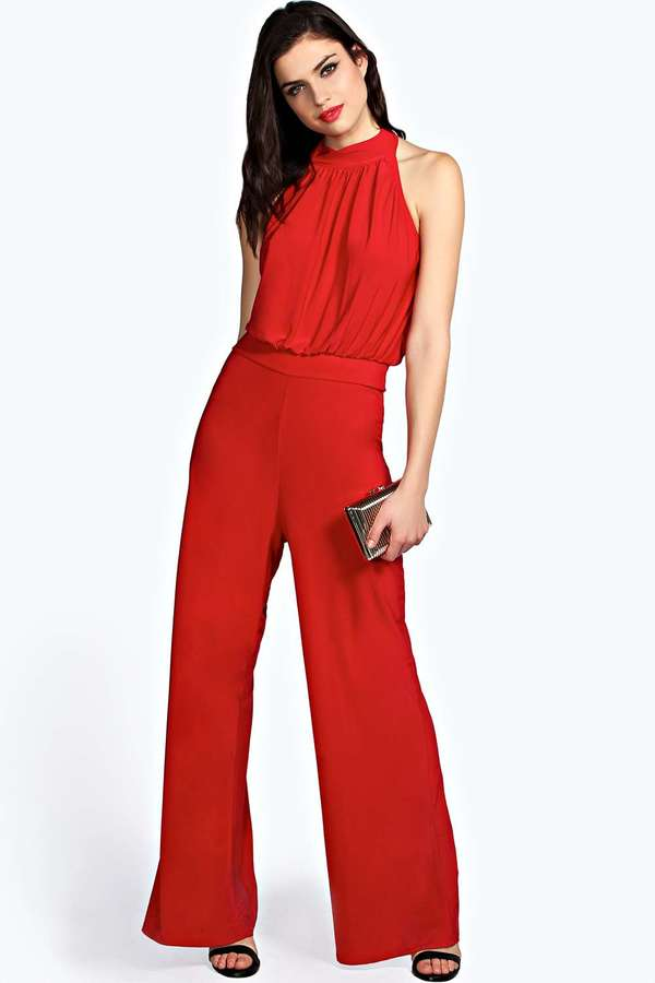 Boohoo Ragina Slinky High Neck Halter Jumpsuit | Where to buy ...