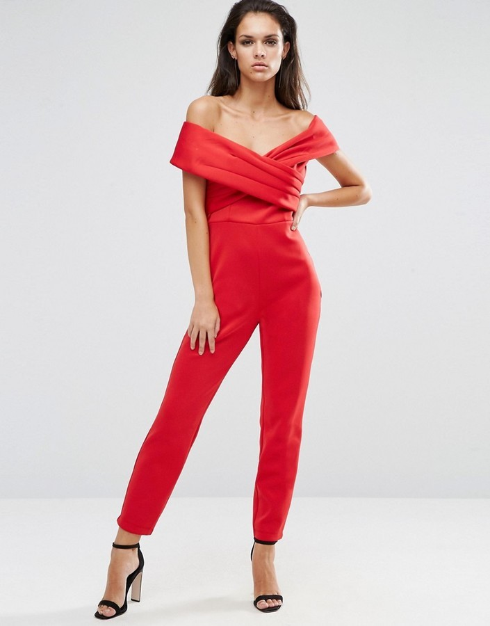 960c904c9a ... Red Jumpsuits Asos Scuba Jumpsuit With Wrap Bardot ...