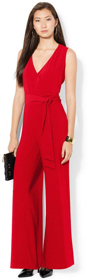 Lauren Ralph Lauren Sleeveless V Neck Belted Jumpsuit Where To Buy