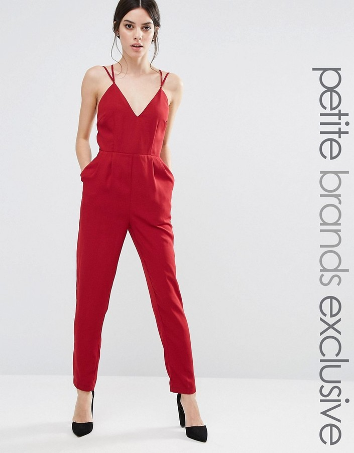 394078fd1a5 ... Red Jumpsuits True Decadence Petite Strappy Plunge Front Jumpsuit ...