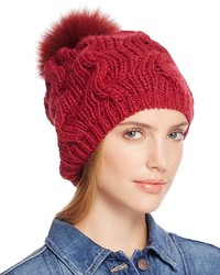 Echo Beanie With Asiatic Raccoon Fur Pom Pom 100%