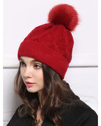 Cable Knit Pom Black Hat