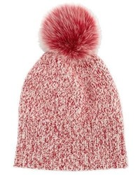Sofia Cashmere Marled Cashmere Pompom Beanie Hat Red