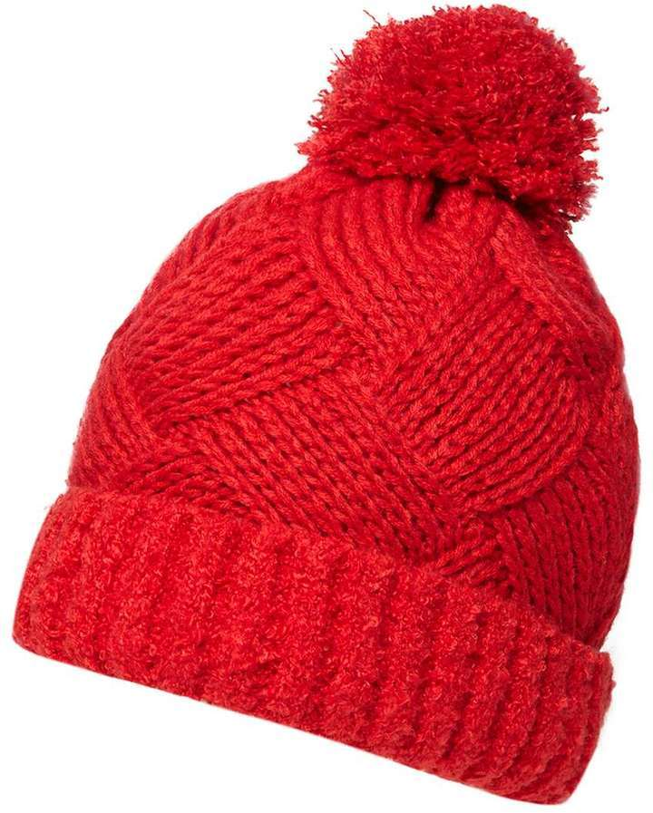 Red Boucle Beanie
